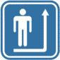 Pictogramsticker Man+pijl, blauw/wit, 120x120mm