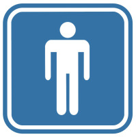 Pictogramsticker Man, blauw/wit, 120x120mm
