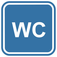 Pictogramsticker WC, blauw/wit, 120x120mm