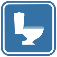 Pictogramsticker Toilet, blauw/wit, 120x120mm